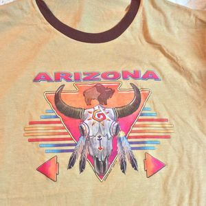 Arizona Steer Feathers Ringer Souvenir Travel Tee